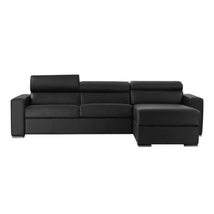 canap lit d 39 angle omega vrai cuir gris 140x190 achat vente canap sofa divan cuir. Black Bedroom Furniture Sets. Home Design Ideas