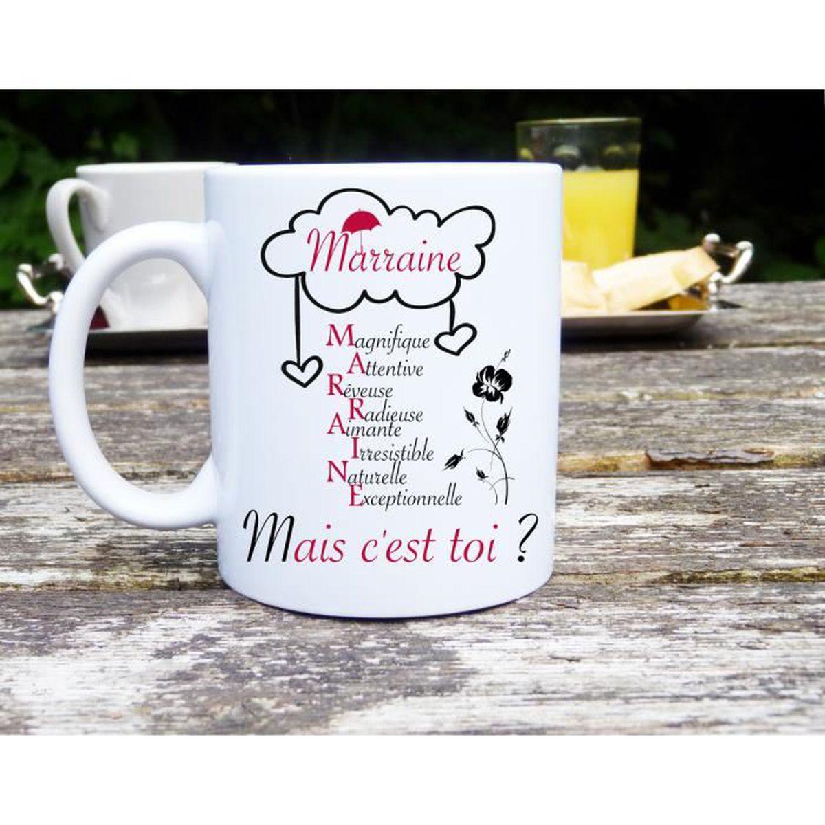 Idée Cadeau Marraine Mug marraine mais c'est toi, idée cadeau, baptème, original et