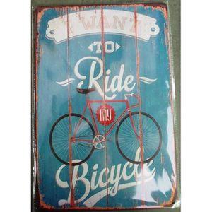 OBJET DÉCORATION MURALE plaque want to ride bicycle vélo tole deco garage