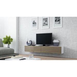 MEUBLE TV Meuble tv design suspendu Vito 180cm Blanc et taup