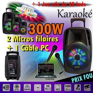 PACK SONO ENCEINTE 300w SONO PORTABLE KARAOKÉ USB BLUETOOTH