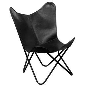 CHAISE Chaise papillon Cuir véritable Noir Fauteuils club