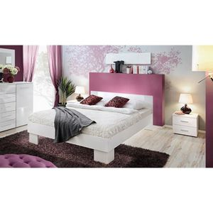 lit 160x200 blanc laque achat vente lit 160x200 blanc. Black Bedroom Furniture Sets. Home Design Ideas