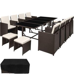 Ensemble table et chaise de jardin TECTAKE Salon de Jardin PALMA 12 Places 8 Chaises