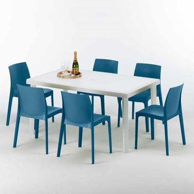 Table Rectangulaire Blanche 150x90cm Avec 6 Chaises Colorées Grand Soleil  Set Extérieur Bar Café ROM - couleur:Bleu