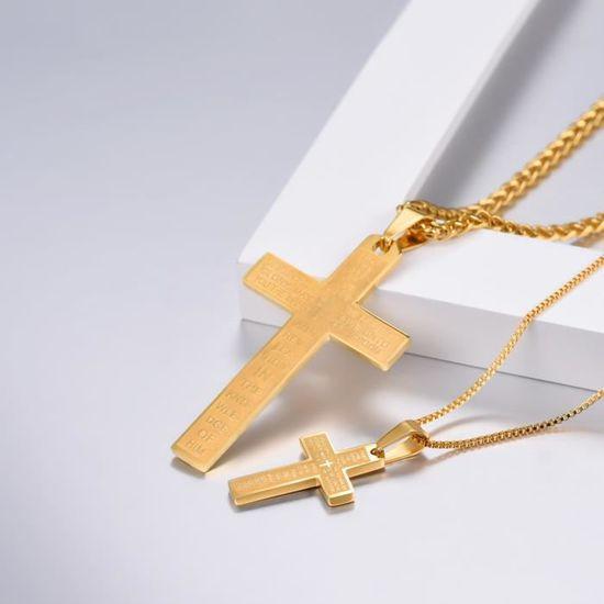 Noël Cadeaux Croix Or Jaune Plaqué Or Strass Cristal Collier Pendentif Pour Robe