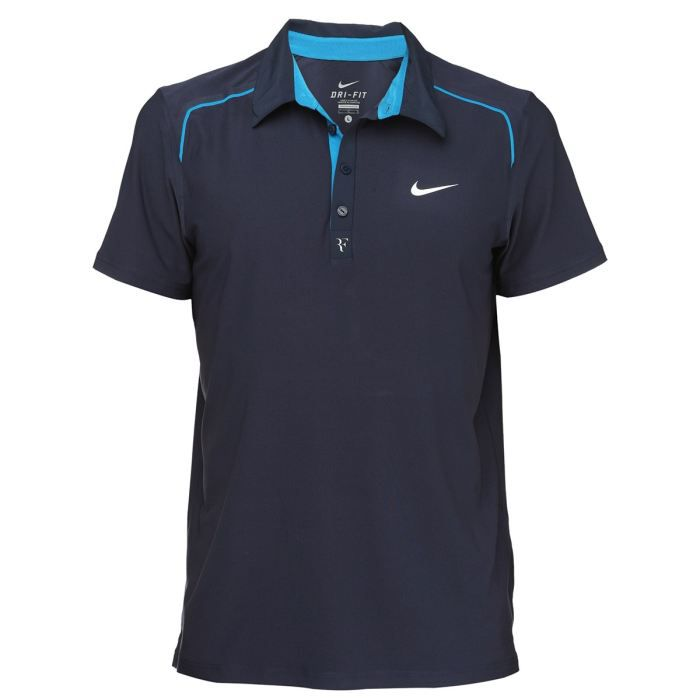 nike polo roger federer homme marine et turquoise achat vente polo nike polo roger federer. Black Bedroom Furniture Sets. Home Design Ideas
