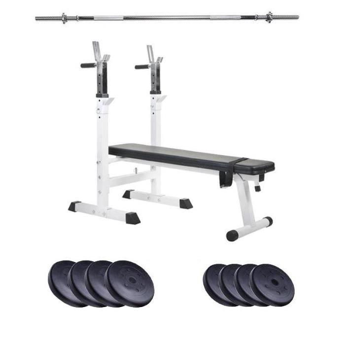 banc de musculation avec barre et 4x2,5 4x5 kg poids plaques en plastique