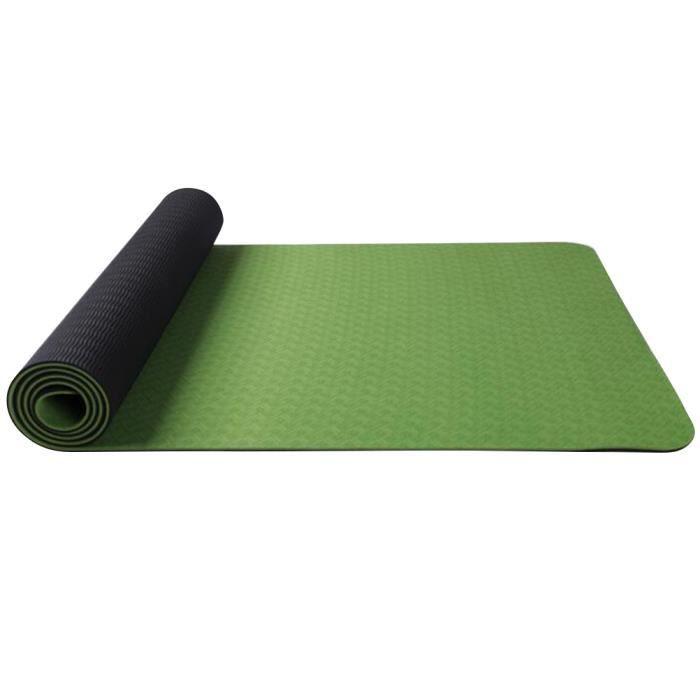 183x61x0.6cm Tapis de yoga portable double couche Tapis de gymnastique de yoga anti-dérapant Tapis de sport d'exercice (vert clair e