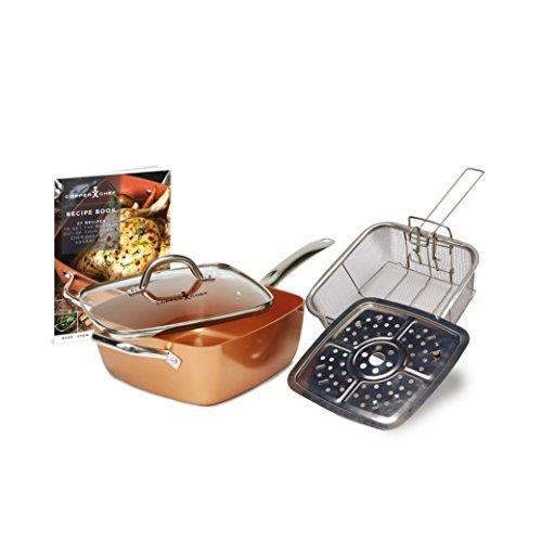Copper Chef Kit de poêle carrée, Profonde, antiadhésive, Cuivre, 24,1 cm, Large, Cuivre, cuivré, 54 x 29.5 x 17.5 cm CCR5