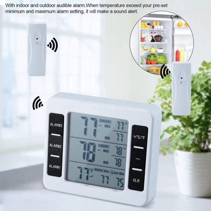 Thermomètre de Réfrigérateur Sans Fil LCD Numérique Congélateur avec Alarme Sonore pour la Maison-Cuisine-Bureau