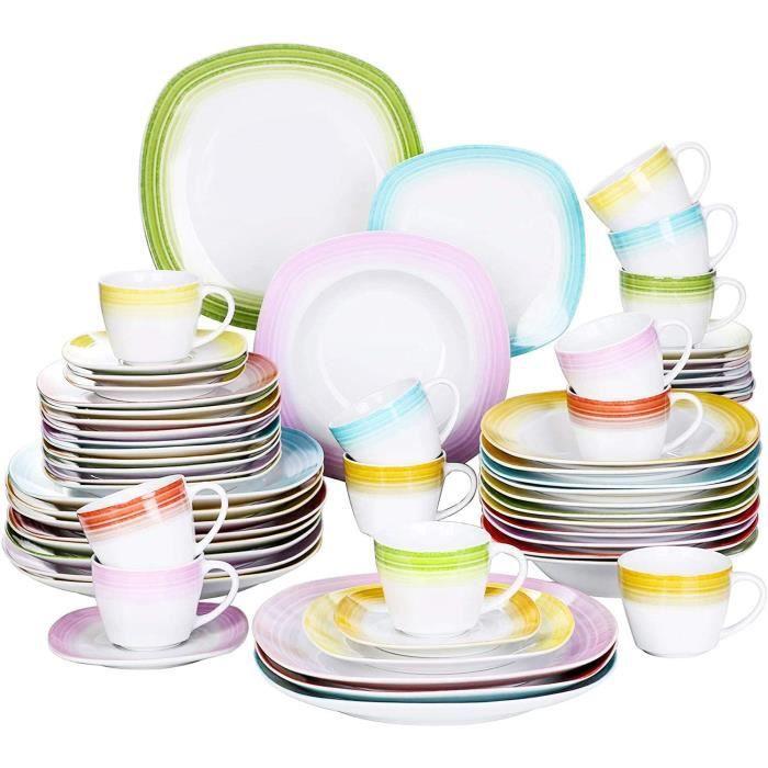 VEWEET, Série Spark, Service Complet 60 Pièces pour 12 Personnes, Assiette Vaiselle en Porcelaine, Style Nature