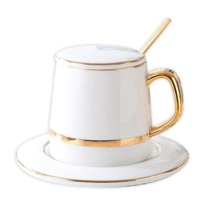 Tasse à café,Ensemble de tasses et soucoupes à café en céramique,avec cuillère,vert solide,minimaliste,de haute - Type White -A