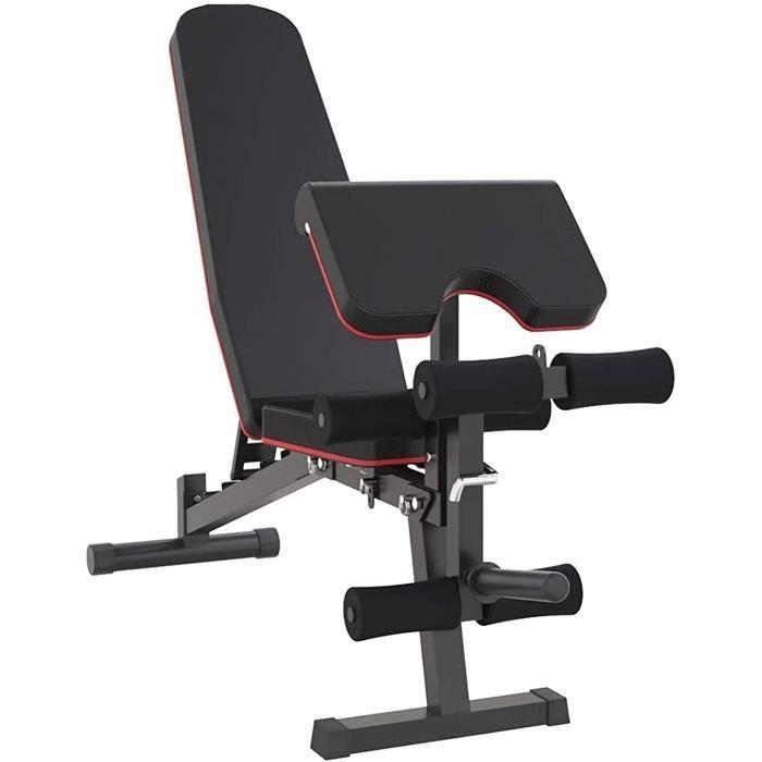 Banc de Musculation Pliable- Presse d'établi d'haltérophilie- Banc d'entraînement réglable- avec Extension de Jambe et Flexion[468]