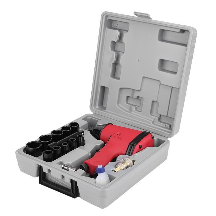 clé à chocs pneumatique 17 pièces 1/2 'Twin Hammer Air Clé à chocs ensemble de pistolet avec douilles + adaptateur UE + étui