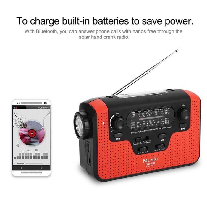 Sonew Radio FM d'urgence FM / AM / SW Radio solaire à manivelle Carte mémoire Musique pour appel mains libres Bluetooth Radio FM