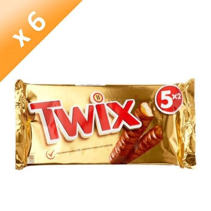 [LOT DE 6] MARS WRIGLEY CONFECTIONERY FRANCE Barres Twix miniatures nappées caramel et enrobées de chocolat au lait - 5x 2 bâtons de 25 g