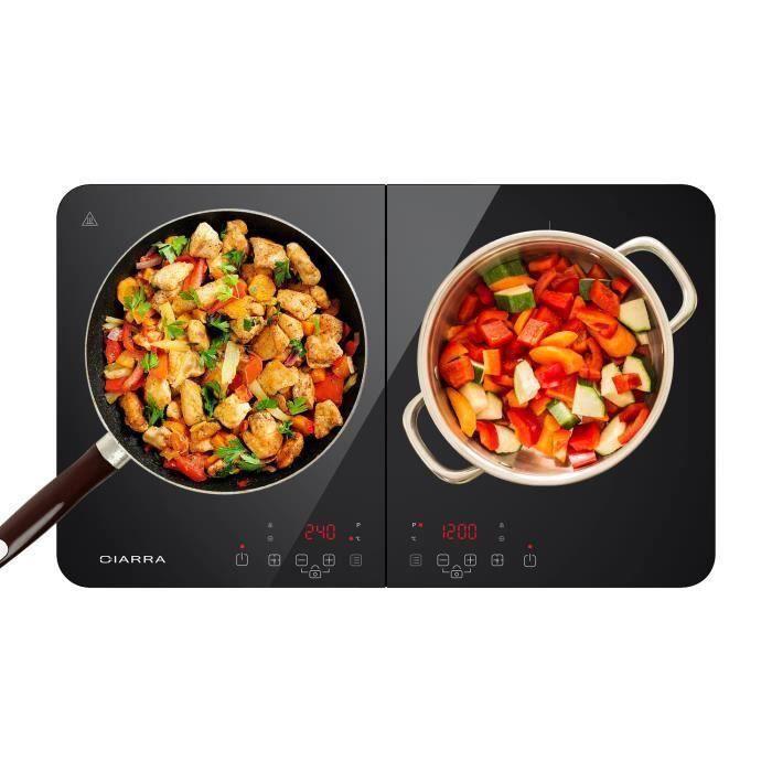 CIARRA CBTIH2 Plaque de cuisson Induction - 2 Feux - 3500W - 9 Niveaux de puissance - Touch-Control - Minuteur - Sécurité enfants