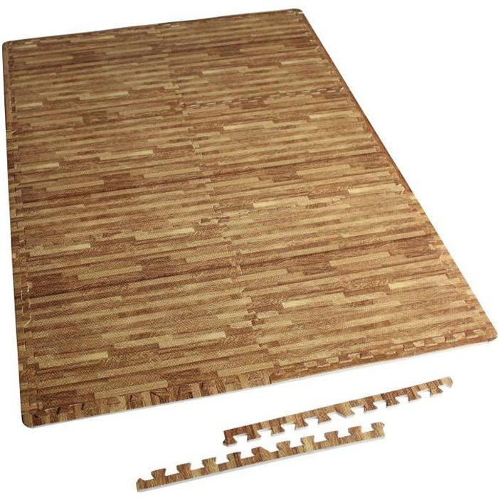 6 tapis de protection en mousse - épaisseur 1,2cm - 12 pièces d'about - Bois clair