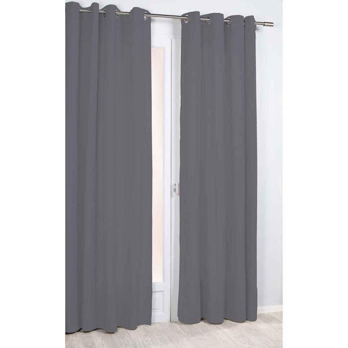 Rideau Phonique et Thermique Uni Gris Foncé 140 x 260 cm
