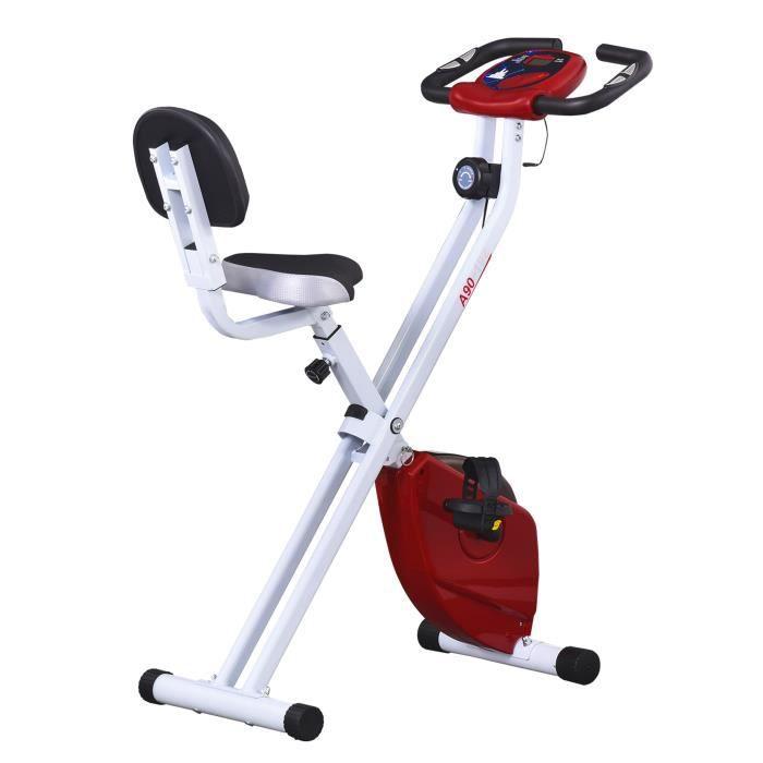 Vélo d'appartement pliable selle réglable dossier écran LCD multifonction capteur fréquence cardiaque acier blanc rouge 43x97x109cm