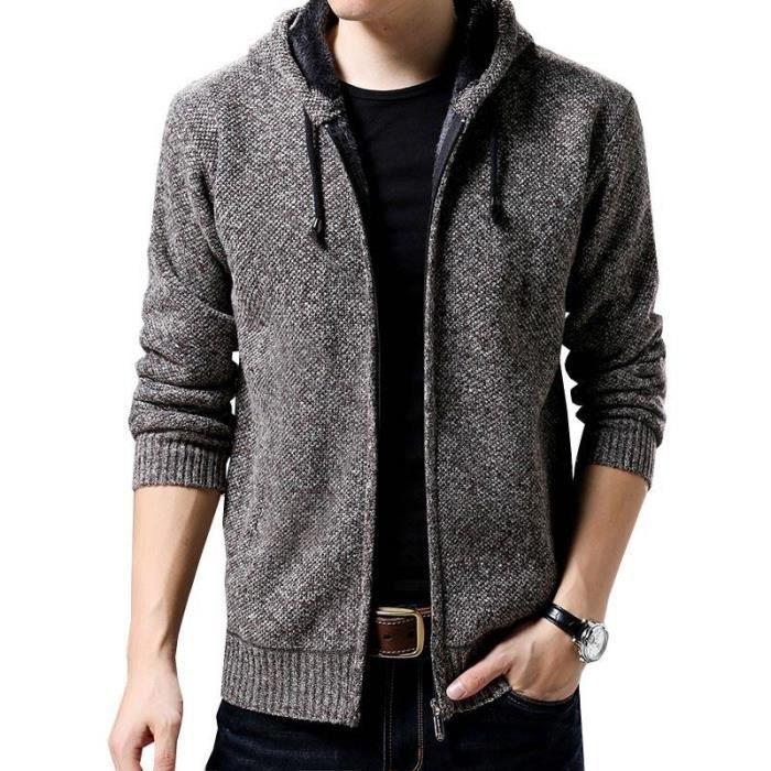 Gilet À Capuche Homme Zippée Chandail Cardigan Chaud Epais Velours Sweater Homme Automne-Hiver