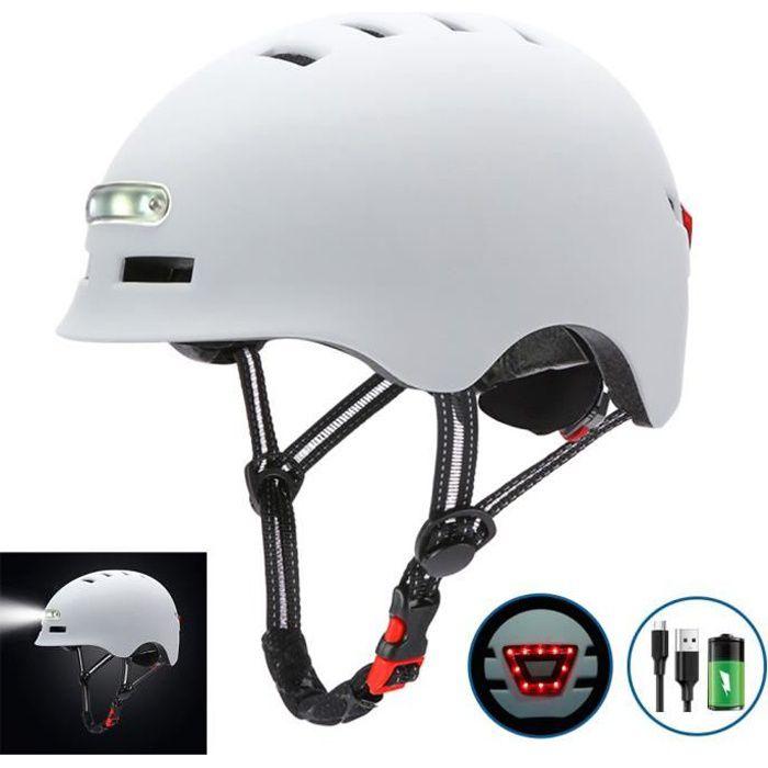 SURENHAP - Casque de Vélo Avec Charge USB Lumière Vive, Voyant D'avertissement - Tour de Tête (58-61CM) - Rithok -A9SF85