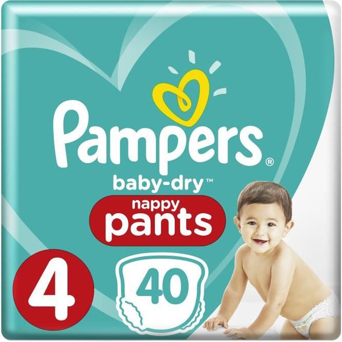 PAMPERS Baby Dry Pants Taille 4 - 8 à 15kg - 40 couches - Format pack Géant