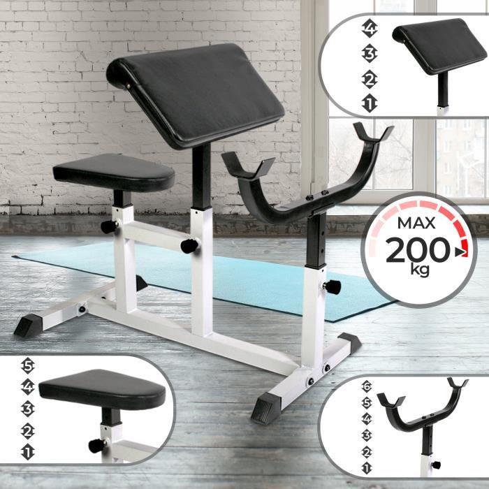 Physionics® Banc de Musculation pour Biceps - Siège, Accoudoir et Support Réglables, Charge Max. 200 kg - Preacher Curl