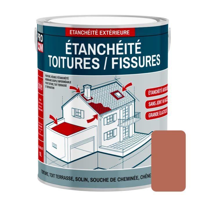 Peinture d'étanchéité pour toiture, réparation tuiles, fissures, anti-fuites, anti-mousse, décore et protège 2.5 litresTerre cuite