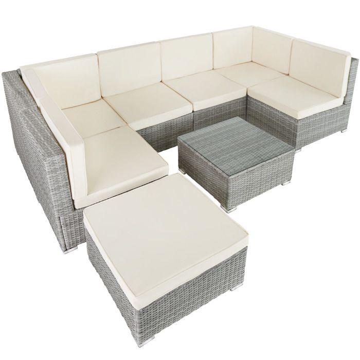 Canapé de Jardin VENISE 7 places - gris clair