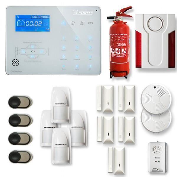 Alarme maison sans fil ICE-B 4 à 5 pièces mouvement + intrusion + détecteur de fumée + gaz + sirène extérieure + extincteur - Compat