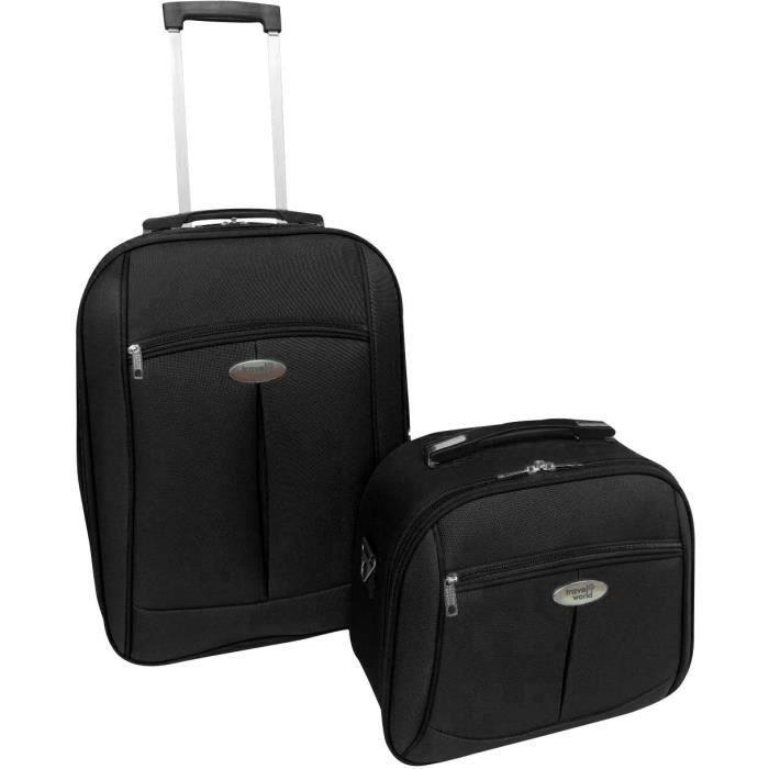 TRAVEL WORLD-TW00091-2BLK - Ensemble de 2 pièces: valise cabine 55cm + vanity case avec 1 kit de 3 flacons de voyage de 100ml- coule