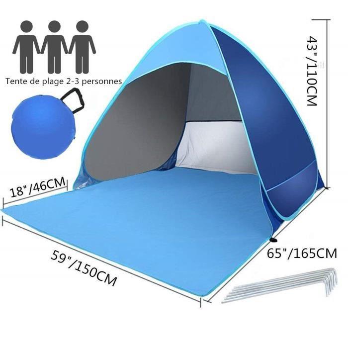 Parcs Tente De Plage Pop-Up Large Abri De Plage 4-6 Person Anti UV UPF 50+ /Étanche Sun Shelters avec Ancrages pour Sacs De Sable pour Camping Plage P/êche 210X150CM Randonn/ée