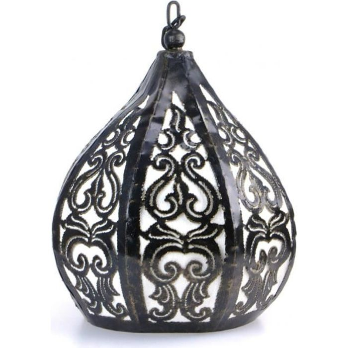 Suspension / Lustre marocain en fer forgé et tissu style oriental ethnique  Noir & Blanc