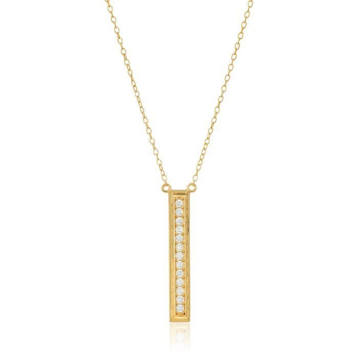 Jewel Panda 18K or jaune en argent sterling plaqué blanc cubique diamant Collier Bar
