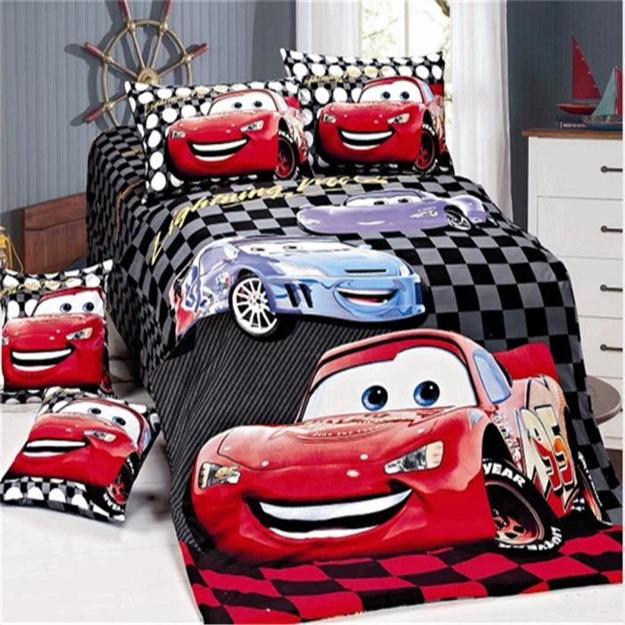 lm parure de lit enfant cars 100 coton achat vente parure de couette cdiscount. Black Bedroom Furniture Sets. Home Design Ideas