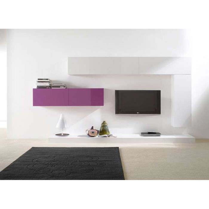 Ensemble tv mural design city blanc violet blanc achat - Meuble tv violet ...
