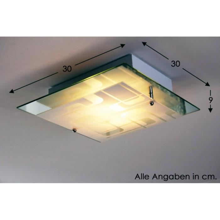 Plafonnier lustre moderne lampe suspension verre achat for Suspension plafonnier