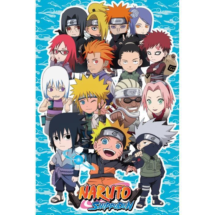 Affiche maxi naruto shippuden chibi personnages achat for Decoration murale naruto