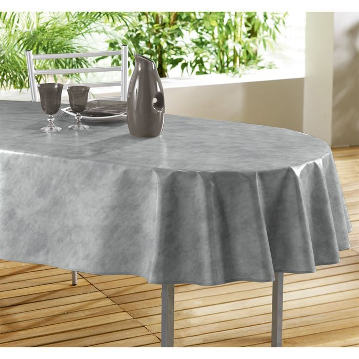 nappe toile cir e ovale 240x140 beton cire gris achat vente nappe de table cdiscount. Black Bedroom Furniture Sets. Home Design Ideas