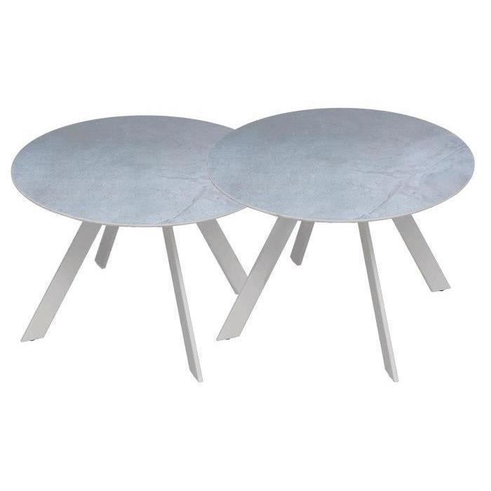 Table basse de jardin en métal, lot de 2 tables d\'appoint - Blanc