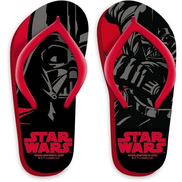 Star Wars : Disney : Tongs Noirs et Rouges :
