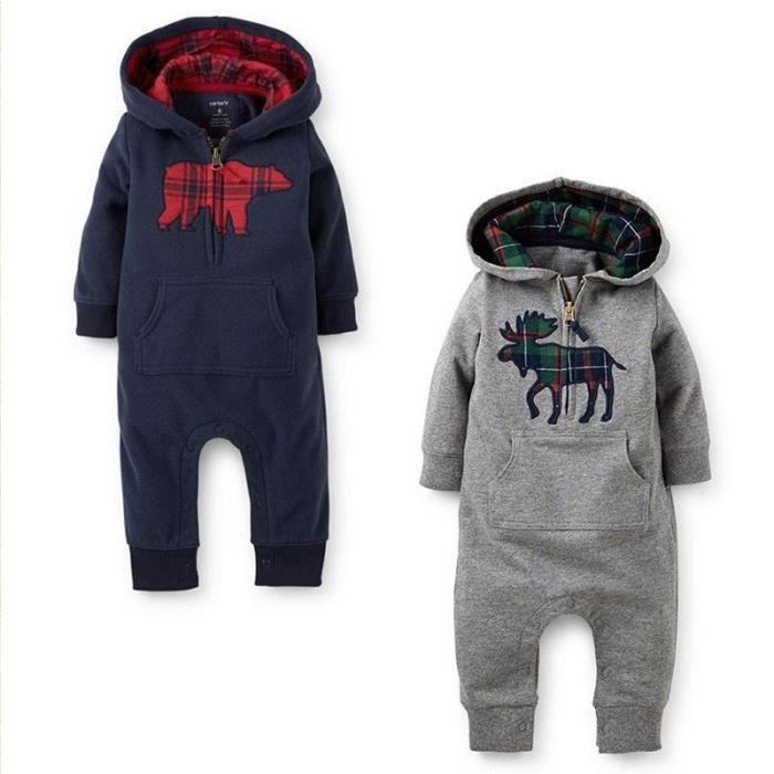 Ensemble de vêtements Deer mignon bébé barboteuses manches longues au...