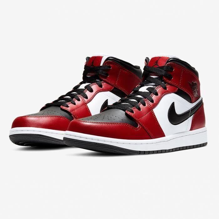 Basket Jordans 1 Mid Retro Chaussures de Basket Jordans One AJ 1 pour Homme Femme Rouge - Noir AJS590607