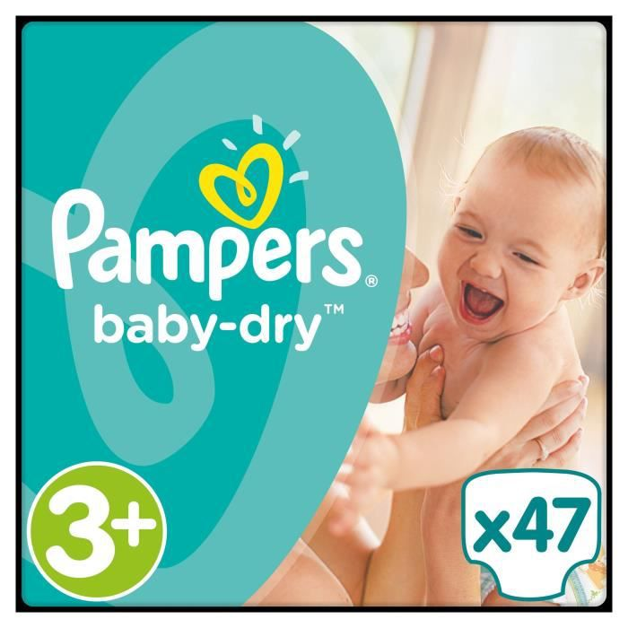 pampers baby dry taille 3 5 10 kg x47 couches format. Black Bedroom Furniture Sets. Home Design Ideas