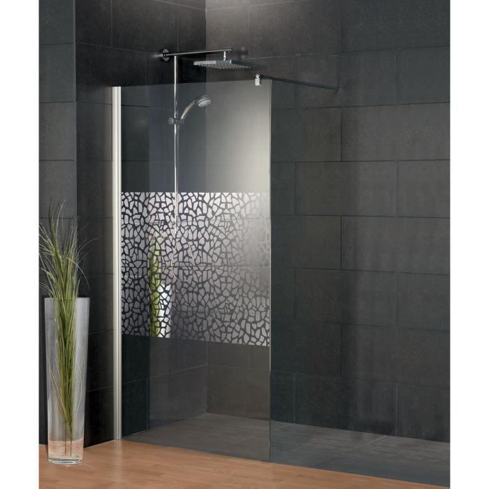 AICA paroi de douche 80x200cm douche /à litalienne en 10mm verre anticalcaire et securit avec une barre de fixation carr/ée 90cm