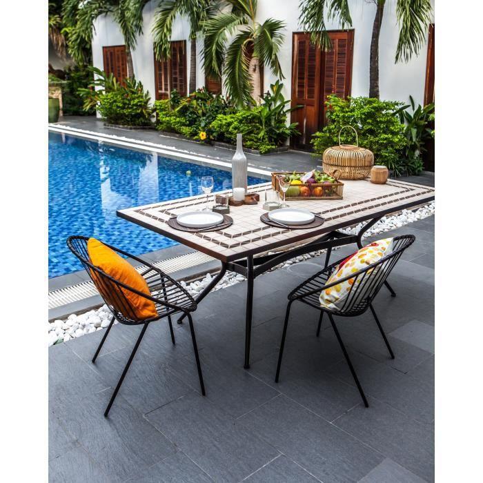 Meuble de jardin - Table de jardin acier et mosaïque en céramique  rectangulaire