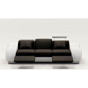 CANAPÉ - SOFA - DIVAN DYDDA - Canapé 3 places relax en cuir noir et blan