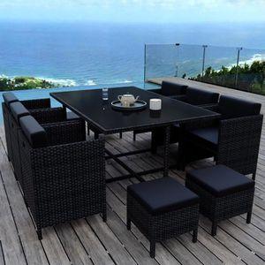 Ensemble table et chaise de jardin MUNGA 10 Places - Ensemble encastrable salon - tab